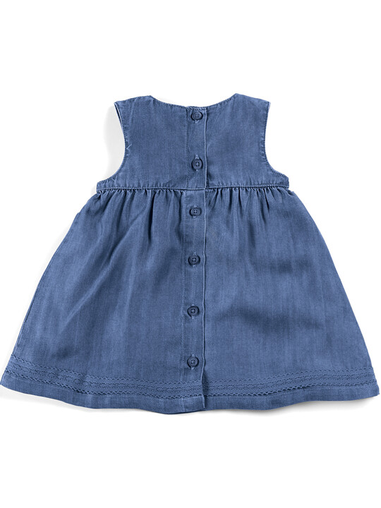 Blue Pin tuck Dress image number 5