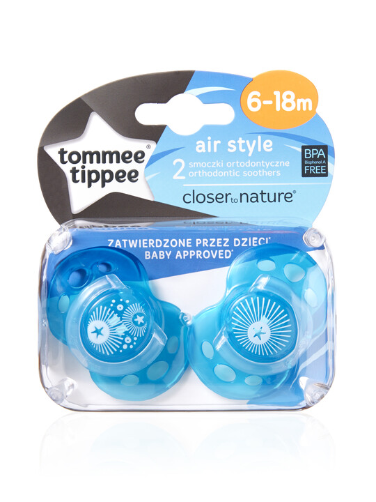 Tommee Tippee Closer to Nature Air Style Soothers 6-18 months (2 Pack) - Blue image number 2