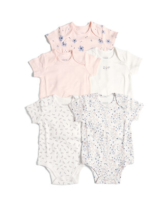 5 Pack of Mixed Girls Bodysuits