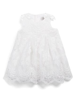 Embroided Scalloped Hem Dress