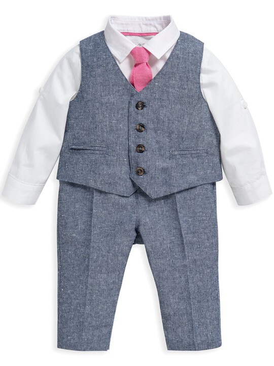 4 Piece Chambray Waistcoat & Trousers Set image number 2