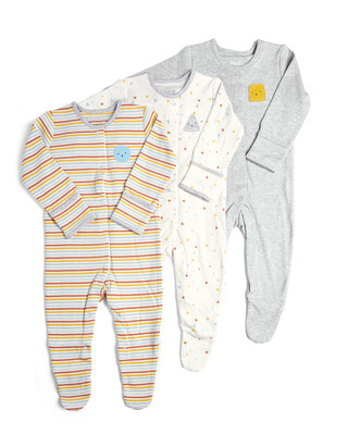 3 Pack of  Shapes Sleepsuits