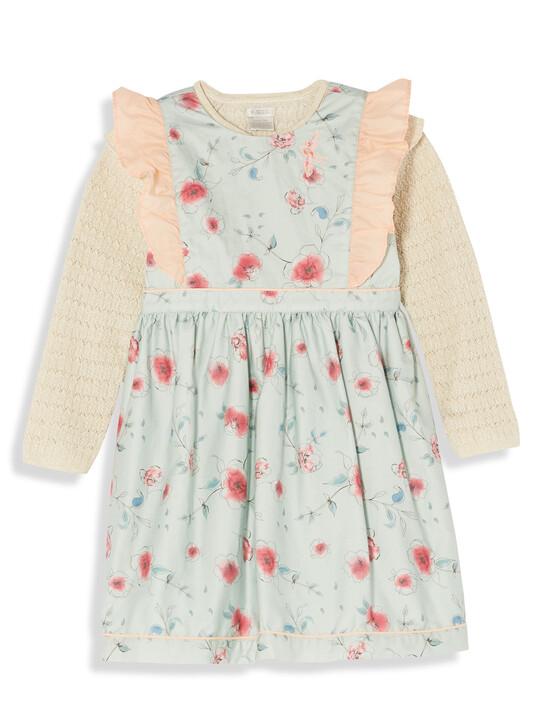 Frill Sleeve Dress & Cardigan image number 1
