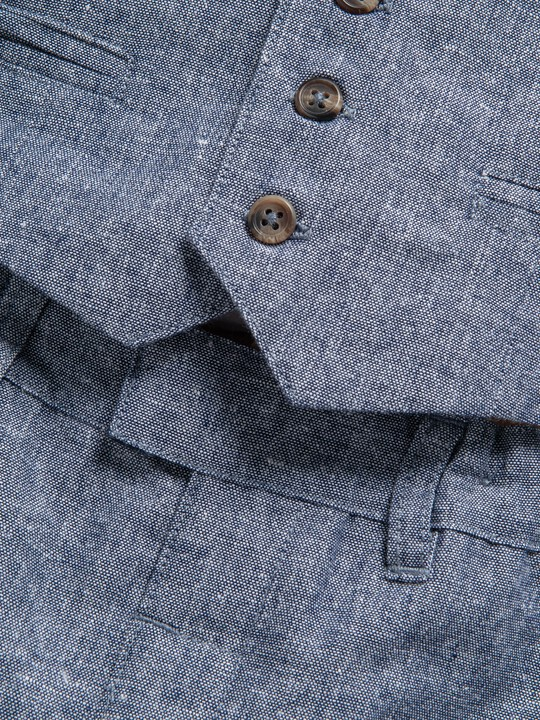 4 Piece Chambray Waistcoat & Trousers Set image number 7