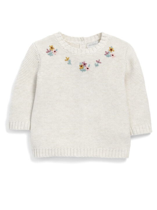 Embroidery Knit Romper image number 1