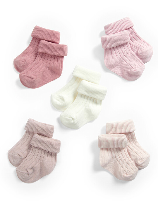 Pink Ribbed Socks (5 Pack) image number 1