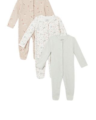 3Pack of  DITSY FLRL Sleepsuits