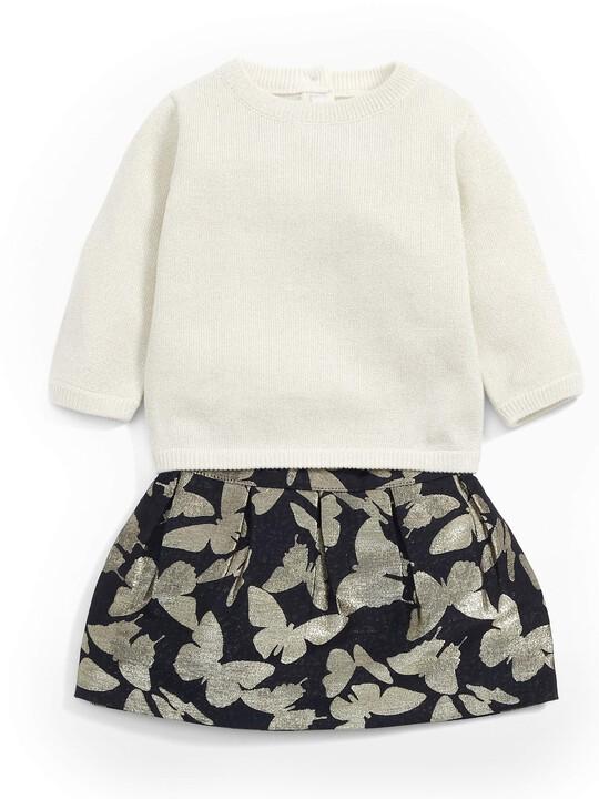 Gold Sparkle Jumper & Printed Skirt Set image number 1