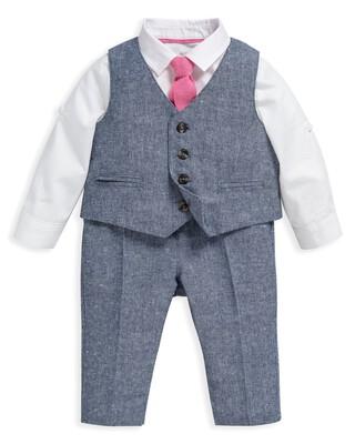 4 Piece Chambray Waistcoat & Trousers Set