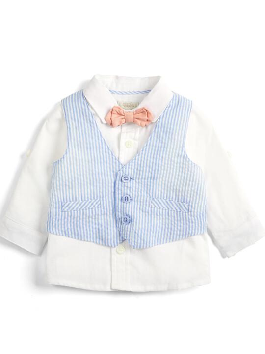 Seersucker Waistcoat, Shirt and Bowtie - 3 Piece Set image number 1