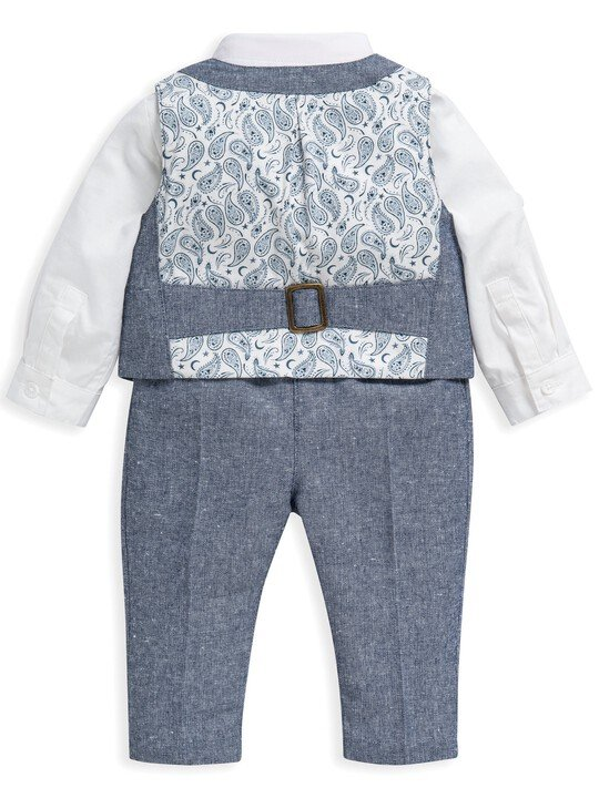 4 Piece Chambray Waistcoat & Trousers Set image number 3