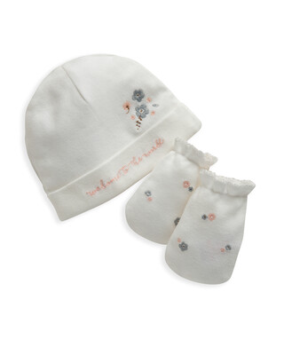 Floral Embroidered Hat & Mitts