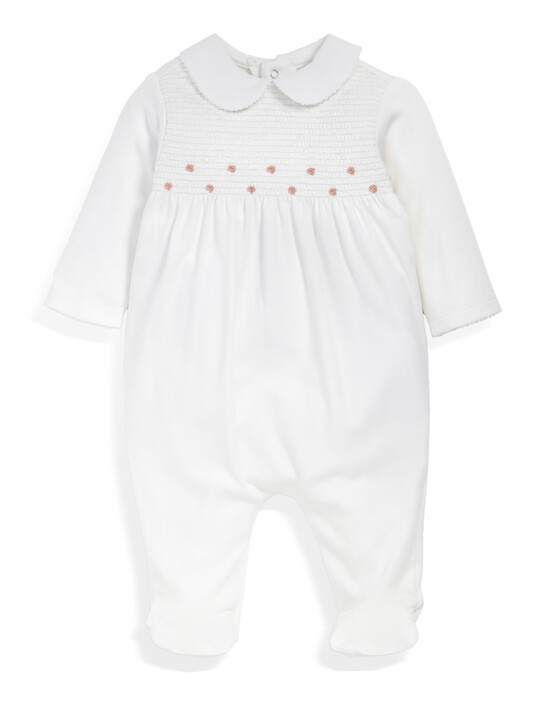 Supima Cotton Smock Detail All-In-One with collar White- New Born image number 1