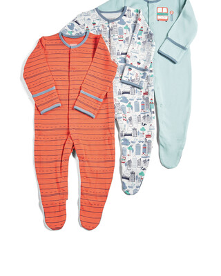 Pack of 3 Town Sleepsuits