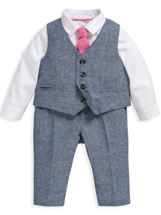 4 Piece Chambray Waistcoat & Trousers Set image number 1
