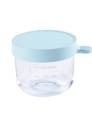 Beaba Conservation Jar Glass 150ml Light Blue