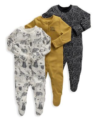 Monochrome Safari Jersey Cotton Sleepsuits 3 Pack