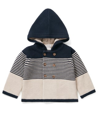Striped Knit Hooded Cardigan