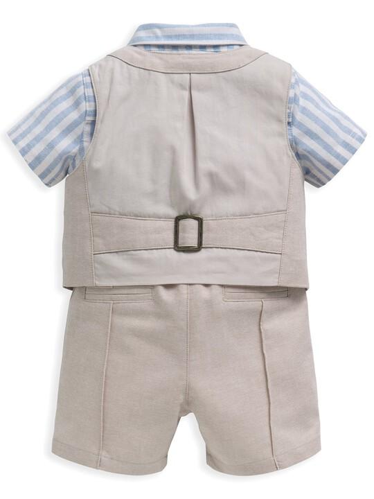 4 Piece Linen Waistcoat & Shorts Set image number 3