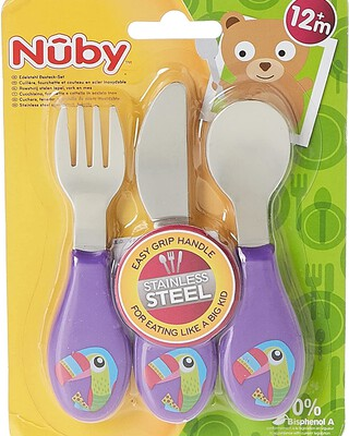 Nuby Stainless Steel Spoon, Fork & Knife