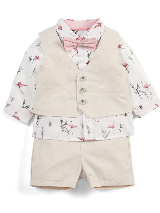 Flamingo Shirt & Waistcoat Set - 4 Piece image number 1