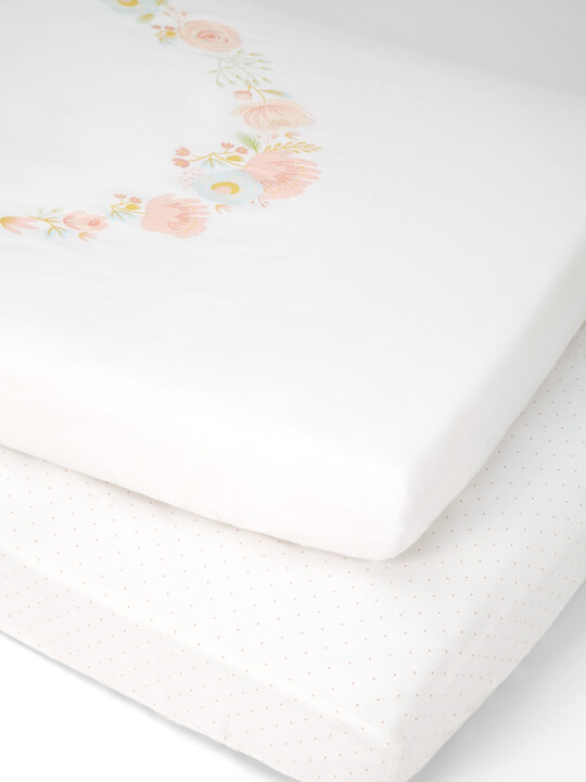 Ava Rose Cotbed Fitted Sheets (Pack of 2 ) - Pink image number 1
