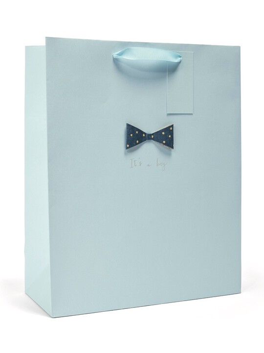 It's a Boy New Baby Celebration Gift Bag with 3D Bow Detail - Large image number 1