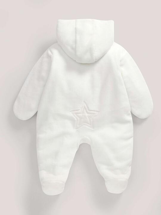Soft Faux Fur Star Design Pramsuit Sand- New Born image number 3