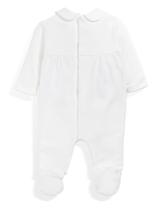 Supima Cotton Smock Detail All-In-One with collar White- New Born image number 4