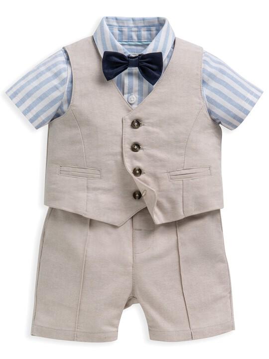 4 Piece Linen Waistcoat & Shorts Set image number 1
