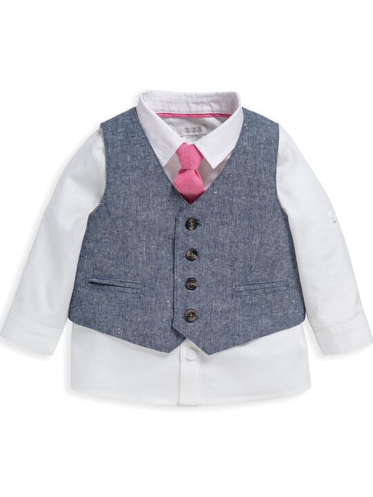 4 Piece Chambray Waistcoat & Trousers Set image number 4