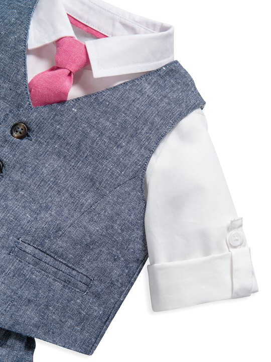 4 Piece Chambray Waistcoat & Trousers Set image number 6