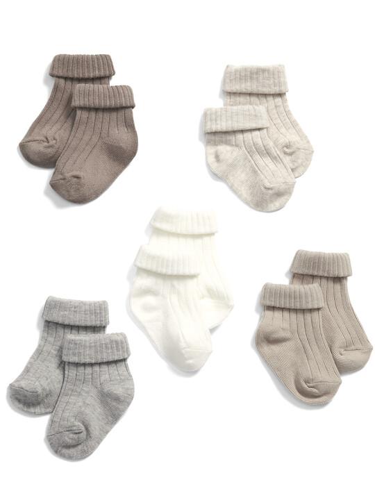 Sand Ribbed Socks (5 Pack) image number 1
