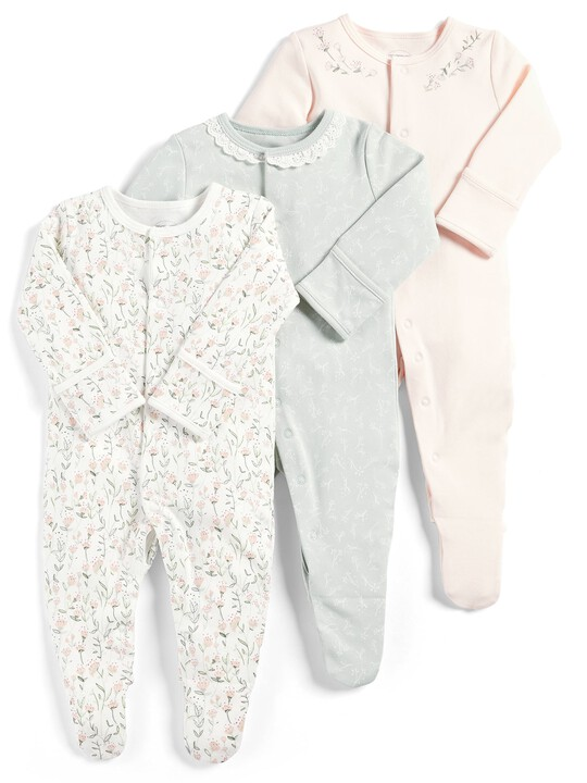 Floral Sleepsuits - Pack of 3 image number 1