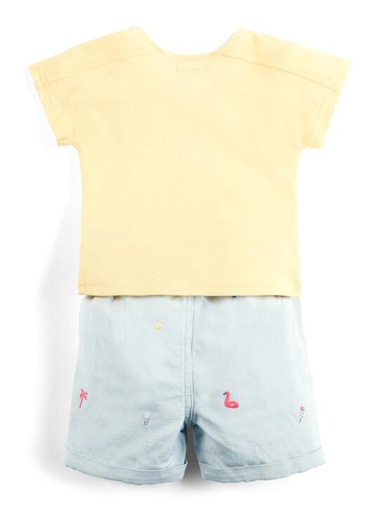 Embroidered T-Shirt & Shorts Set image number 2